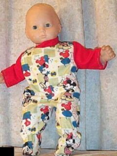 "Doll Clothes Boy Fit American Girl 16"" inch Boy Pajamas Mickey Mouse Bitty Red"