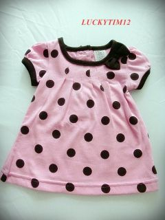 NEW SET 2 PICES BABY GIRLS CLOTHING POLKA DOT T SHIRT AND BROWN PANTS SIZE 3M