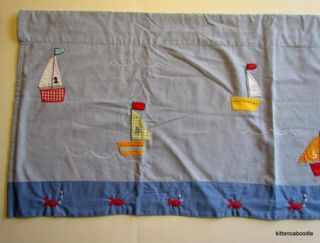 Pottery Barn Kids Baby Boats Boy Nursery Window Valance Blue Sail Boats