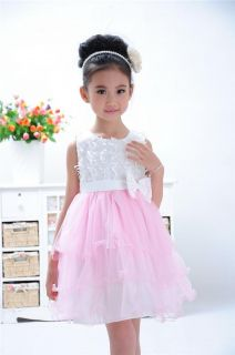 Casual Toddlers Girls Tutu High Waist Bow Formal Dress Kids Princess Skirts 2 7Y