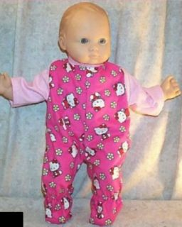 "Doll Clothes Fit American Girl 16"" inch Bitty Baby Hello Kitty Pajamas Red Pink"