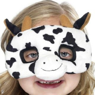 Plush Eyemask Cow Child Kid's Animal Fancy Dress Costume Accessory Mask