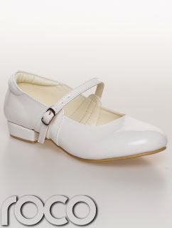 Girls White Ballerina Patent Bridesmaid Christening Diamante Flowergirl Shoes