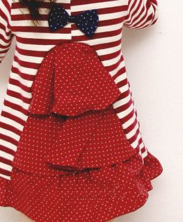 Korean Cute Bow Knot Stripe Polka Dot Dress Princess Baby Girl Kids Child 1 7yrs