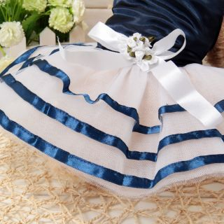 Cute Blue Lace Small Pet Dog Cat Puppy Clothes Dress Christmas Apparel 4 Size