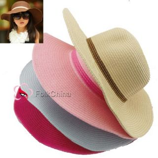 Lovely Girls Kids Summer Straw Sun Hat Foldable Beach Wide Brim Hat Cap