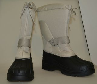 Comfortview Womens 10W Winter Snow Boots Off White Black
