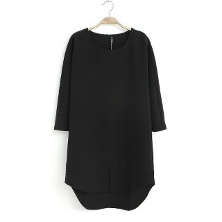 Womens European Fashion Short Sleeve Crewneck Back Zip Loose Dress B3790MS