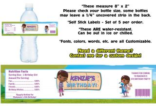 Doc McStuffins Printed Water Bottle Labels Birthday Party Favors Supplies
