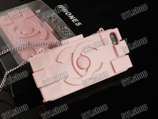 Stylish Chanel Lego Bag Silicone Soft Case for Apple iPhone 5 5S Baby Pink