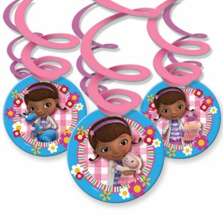 6 Disney Doc McStuffins Birthday Party 16cm Hanging Swirls Decorations