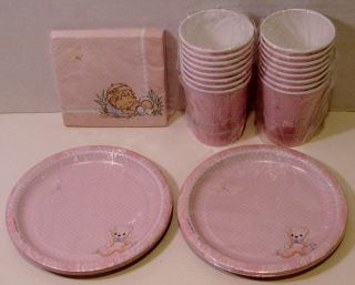 Precious Moments Baby Girl Shower Party 16 Dessert Plates Beverage Napkins Cups