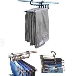 5 in 1 Multifunctional Stainless Steel Trousers Rack Closet Organizers Portable