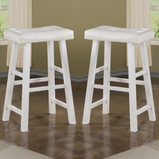 "Set of 2 Pure White Faux Leather Seat Cushion Solid Wood 29""H Saddle Bar Stools"