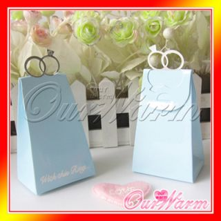 100 Aqua Blue Ring Favor Boxes Wedding Party Gift Candy Truffle Supplies Sales