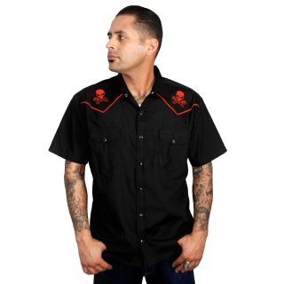 Steady 'Skull Piston' Western Shirt Rockabilly Tattoo Punk Work Retro Kustom