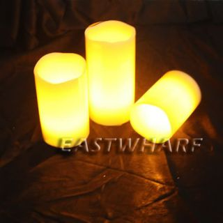 Remote Control Colour Changing LED Vanilla Flameless Wax Candles with Timer