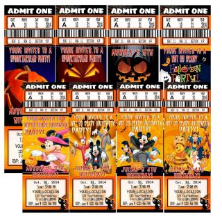 Halloween Disney Mickey Minnie Birthday Party Ticket VIP Pass Invitations Favor