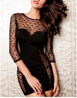 Womens Sexy See Through Lace Bodycon Club Cocktail Party Mesh Mini Black Dress