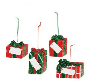 4 PC Christmas Presents Tree Ornaments Personalize