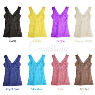 Women Lady Sexy V Vest Flower Lace Hollowed Basic Tank Tops Shirts M L 8 Colors