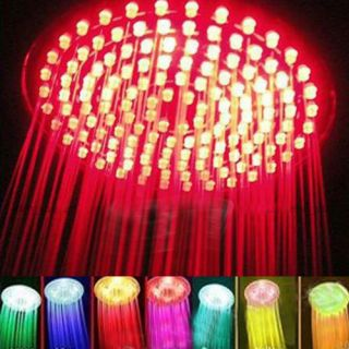 "8"" Glass Rainfall Round Bathroom Shower Head 7 Colors Changing LED Flash Light"