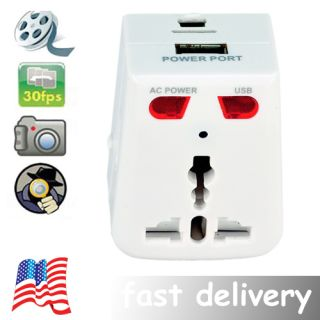 New Universal Power Socket USB Plug Adapter Motion Detection Spy DVR Camera