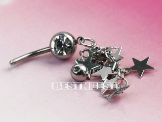 1pc 316L Steel Crystal Stars Chain Dangle Navel Belly Button Ring Bar Piercing