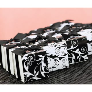 25 Black White Flourish Favor Boxes Wedding Elegant Party Graduation Formal