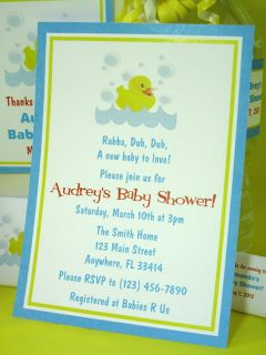 Rubber Ducky Duck Baby Shower PDF CD Invitations Favors Gum Wrapper Banner Decor