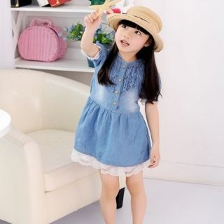 New 2 8T Girls Kids Dress Front Denim Ruffle Blue Snap Lace Trim Cowboy Clothes