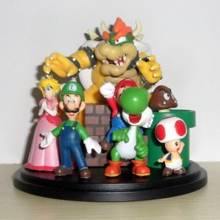 New Super Mario Bros Bowser Princess Luigi Yoshi Toad Goomba Figures Set
