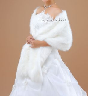 Bridal Ivory Faux Fur Long Wrap Shrug Bolero Coat Wedding Party Shawl BS02