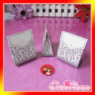 50 Silver Wedding Party Candy Truffle Gift Favor Boxes