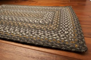 Ultra Durable Washable Braided Area Rug Rectangle Indoor Outdoor Gray Blue Gold