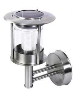 Stainless Steel Solar Powered Wall Lantern Light Outdoor Wall Mounted Patio Door