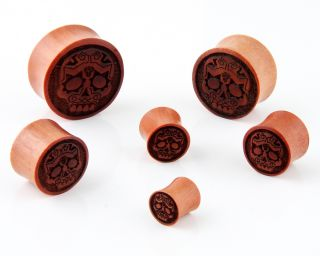 Pair Sugar Skull Day of The Dead Double Flare Organic Sawo Wood Ear Plugs Gauges
