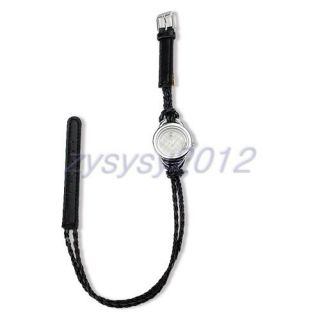 Fashion Lady's Black Double Wrap Crystal Braided Strap Wrist Watch Gift