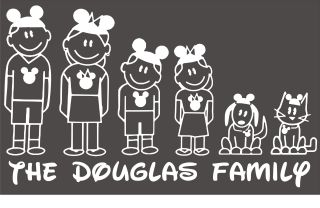 Disney Mouse Ears Stick Figure Family Decal Car Window Sticker Wall Vinyl