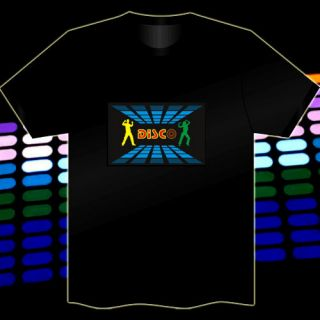 Disco Fashion Flashing Sound Music Activated Light Up and Down LED El T Shirt