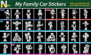 My Family Stickers Stick Figure Family Decal Car Window Stickers