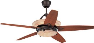 "Monte Carlo 5AHR60RBD L Arch Bronze 60"" Ceiling Fan w Lt Wall or Remote"