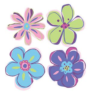 Doodle Flowers Pink Purple Green Blue 25 Wallies Flower Stickers Decals Walls
