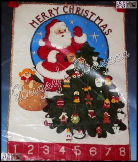 Bucilla Santa's Tree Felt Christmas Advent Calendar Felt Applique Kit Ornaments