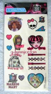 Monster High 16pc Girls Temporary Tattoos Birthday Party Favor New