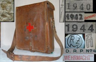 WWII 1944 German Elite Waffen RZM Medic First Aid Bag w Equipment