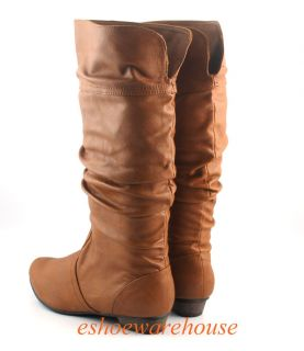 Tan Cognac Leatherette Cutie Urban Chic Comfy Slouch Flat Knee Boots Fixed Cuff