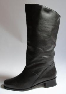 Vintage Women's Brown Leather Riding Knee High Boots Shoes Fashion Pirate 9 Wide