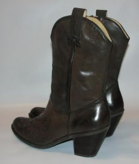 Sexy Womens Brown Leather Guess Cowboy Western Boots Shoes Sz 9 5 M Wgnicolle