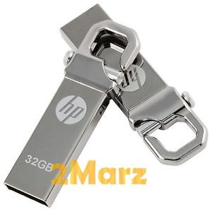 HP V250W 32GB 32G USB Flash Pen Drive Storage Memory Stick Hook Clip Lock Metal
